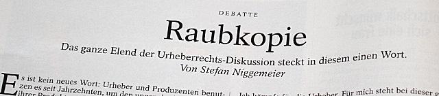 """Überschrift """"Raupkopie"""" im SPIEGEL 11/2012 Seite 82"""