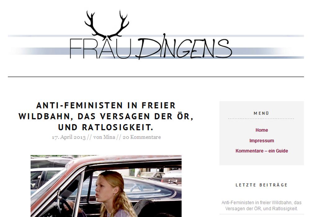 Screenshot Frau Dingens