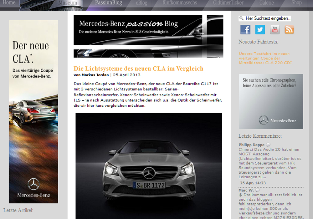 Screenshot Mercedes Benz Passion Blog