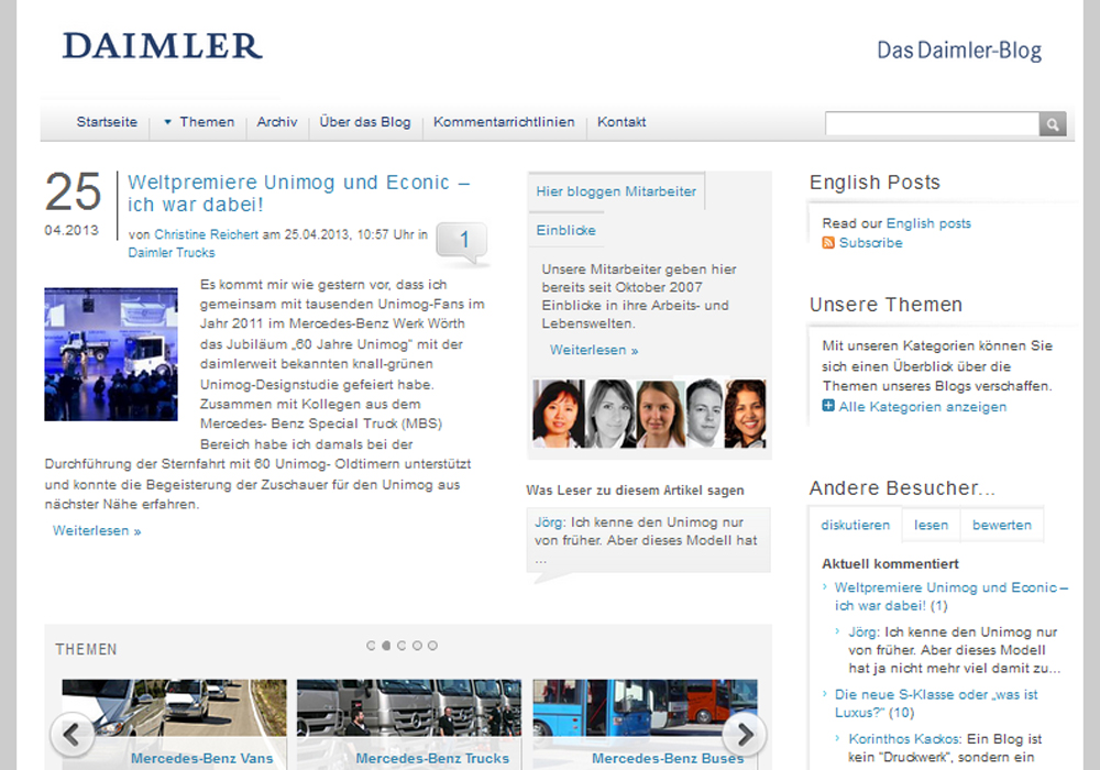 Screenshot Daimler-Blog