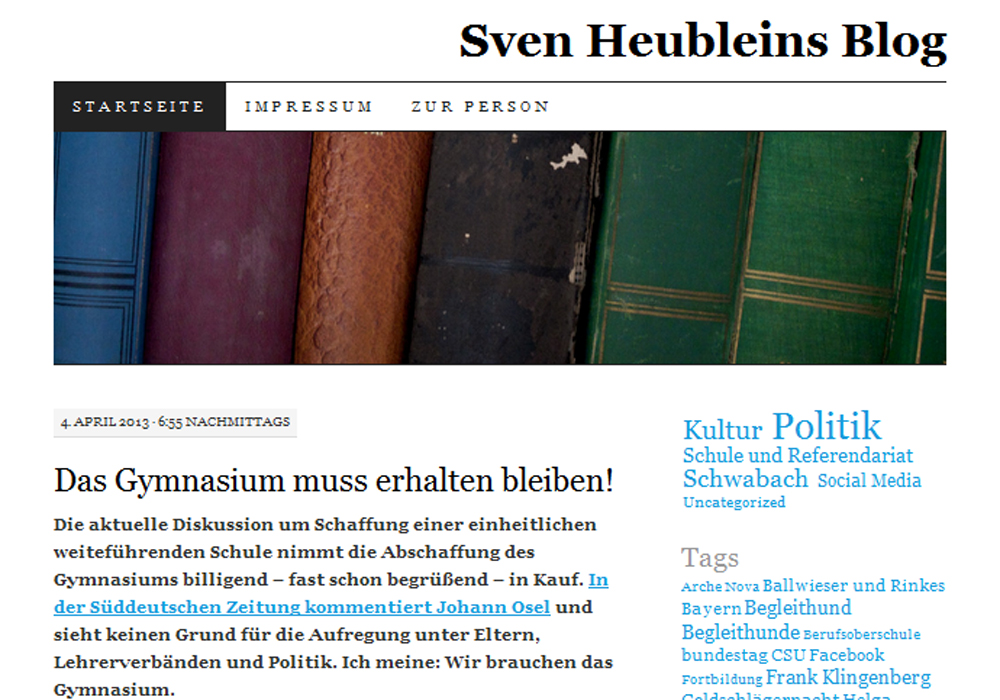 Screenshot Sven Heubleins Blog